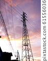 Steel tower High voltage line Sunset sky 61556036