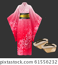 Kimono and geta, yukata japanese woman dress. 61556232