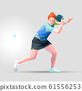 Table tennis player triangle polygonal low poly vector illustration 61556253