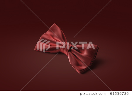 Blank red classic bow tie mockup lying, gules background 61556786