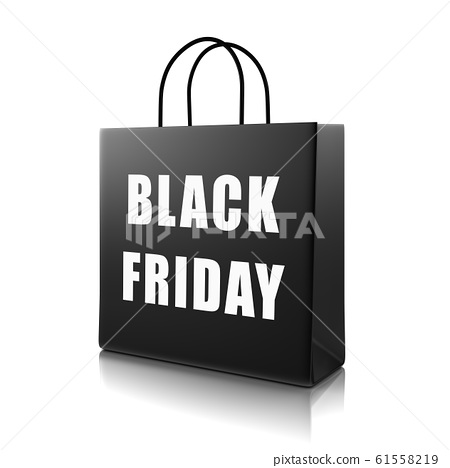 Black Shopping Bag with Black Friday Text 61558219