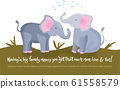 Elephant family card in a flat style. 61558579
