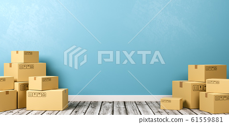 Cardboard Boxes on Wooden Floor 61559881