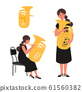 Vector illustration of a woman blowing tuba 61560382