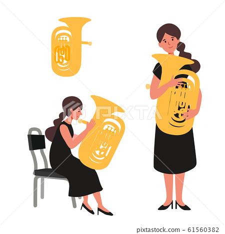 一個女人吹大號的矢量圖 61560382