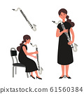 Vector illustration of a woman blowing a bass clarinet 61560384