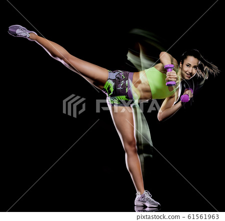 woman exercising fitness exercises isolated black background lightpainting effect 61561963