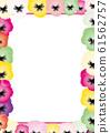 三色堇七彩花朵背景素材垂直框架 61562757