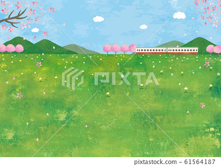 草甸与樱花和火车的水彩观 61564187