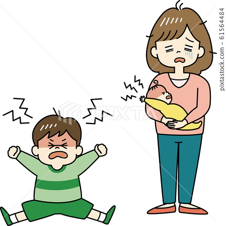 Mother tired of unpleasant child 61564484