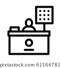 Cashier Table Icon Vector Outline Illustration 61564781