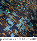 Circuit board futuristic server code processing. Angled view multicolor technology black background. 3d 61565408
