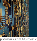 Circuit board futuristic server code processing. Angled view multicolor technology black background. 3d 61565417