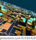 Circuit board futuristic server code processing. Angled view multicolor technology black background. 3d 61565428