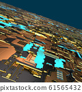 Circuit board futuristic server code processing. Angled view multicolor technology black background. 3d 61565432