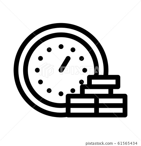 Watch Coin Heap Icon Vector Outline Illustration 61565434