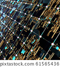 Circuit board futuristic server code processing. Angled view multicolor technology black background. 3d 61565436
