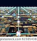 Circuit board futuristic server code processing. Angled view multicolor technology black background. 3d 61565438