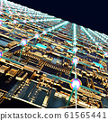 Circuit board futuristic server code processing. Angled view multicolor technology black background. 3d 61565441