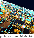 Circuit board futuristic server code processing. Angled view multicolor technology black background. 3d 61565442