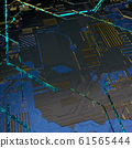 Circuit board futuristic server code processing. Angled view blue color technology black background. 3d 61565444