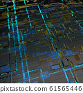 Circuit board futuristic server code processing. Angled view blue color technology black background. 3d 61565446