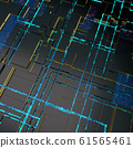 Circuit board futuristic server code processing. Angled view blue color technology black background. 3d 61565461