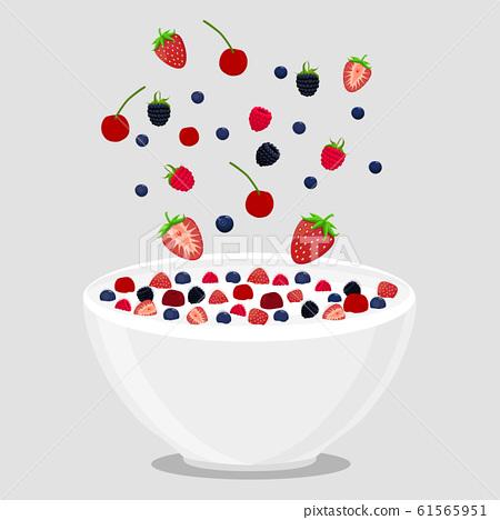 vector illustration logo for milk splash berries 61565951