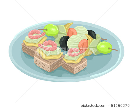 Plate with tapas. Snacks with shrimps and olives. Vector drawing 61566376