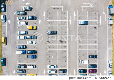 Empty parking lots, aerial view. A lot of cars in 61566927