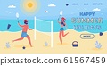 Happy Summer Holidays Vector Landing Page Template 61567459