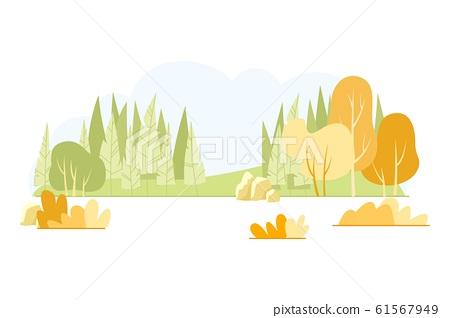 Typical Hilly Field Landscape, Cartoon Slide. 61567949