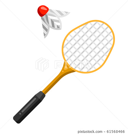Icon of badminton racket and shuttlecock in flat style. 61568466