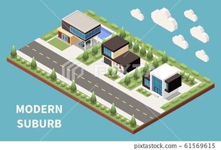 Modern Suburb Isometric Background 61569615
