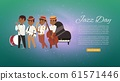 Jazz band with cartoon characters singer, saxophonist and double-bass player musicians web banner vector illustration. 61571446