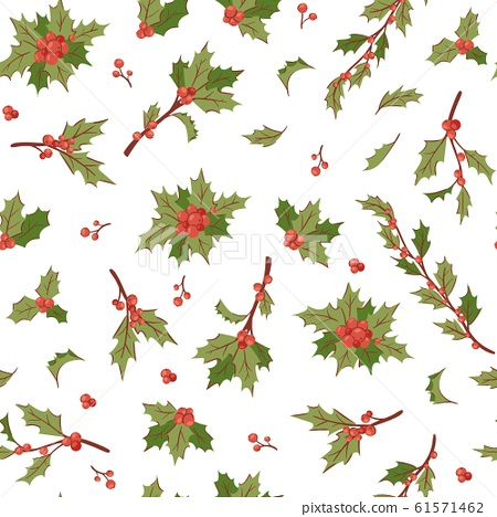 Christmas berry holly mistletoe leaves seamless vector pattern illustration for holiday background. 61571462