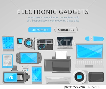 Electronic gadgets sale web vector template with modern devices. Computers, printer, VR device and tablet, notebook. Landing for electronic gadgets or website. 61571609