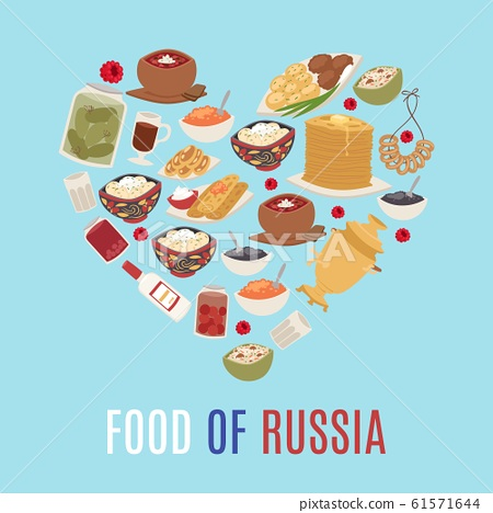 Russian cuisine and national food of Russia in heart shape form vector illustration with caviar, pancakes, borsch soup and vodka. 61571644