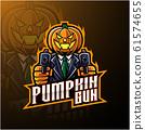 Halloween pumpkin with gun mascot logo design 61574655