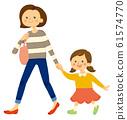 母親和女兒出去的插圖 61574770