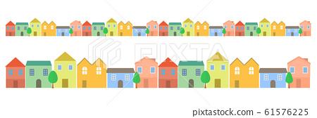 居住區簡單的城市景觀可愛的插圖 61576225