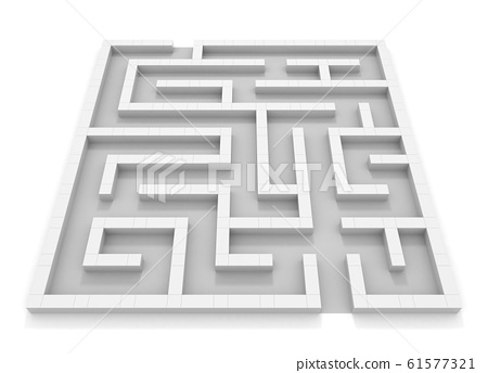 Square maze. White wall. Black and white. 3D rendering. 3D illustration 61577321