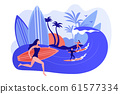 Surfing school concept vector illustration. 61577334