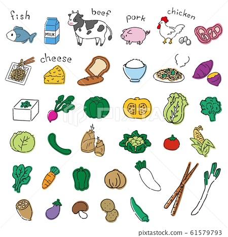 필기 바람 야채와 고기의 귀여운 일러스트 소재 61579793
