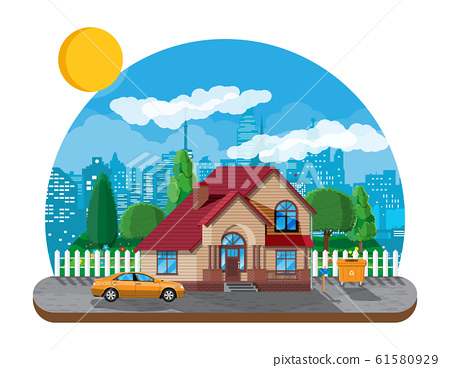 Suburban family house. Countryside wooden house 61580929