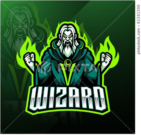 Wizard esport mascot logo design 61581500