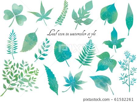 葉:葉葉植物綠色新鮮綠色矢量葉子蕨類植物圖圖標出血水彩可愛春天 61582261