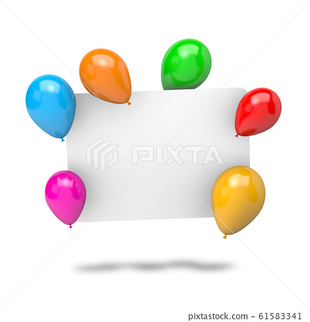 Blank Badge with Balloons 61583341