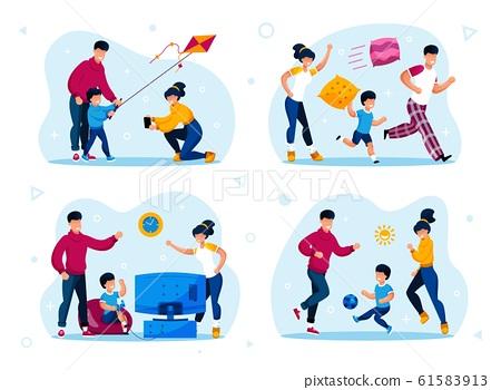 Family Outdoor Recreation, Home Activities Vectors 61583913