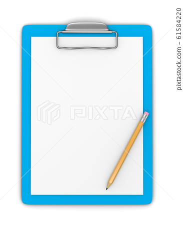Clipboard with Blank Paper and Pencil 61584220